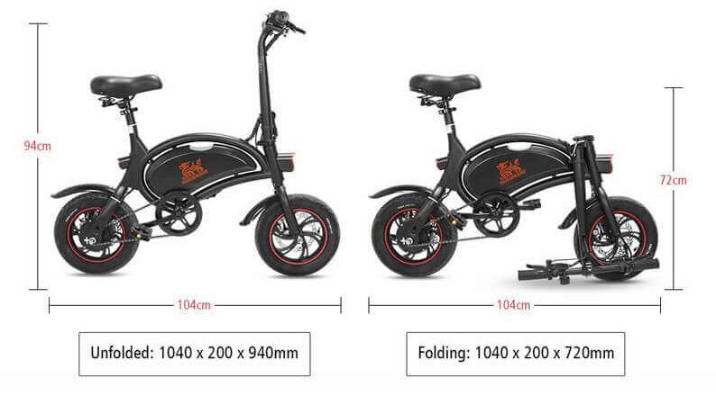 medidas bicicleta eléctrica Kirin B1 Pro