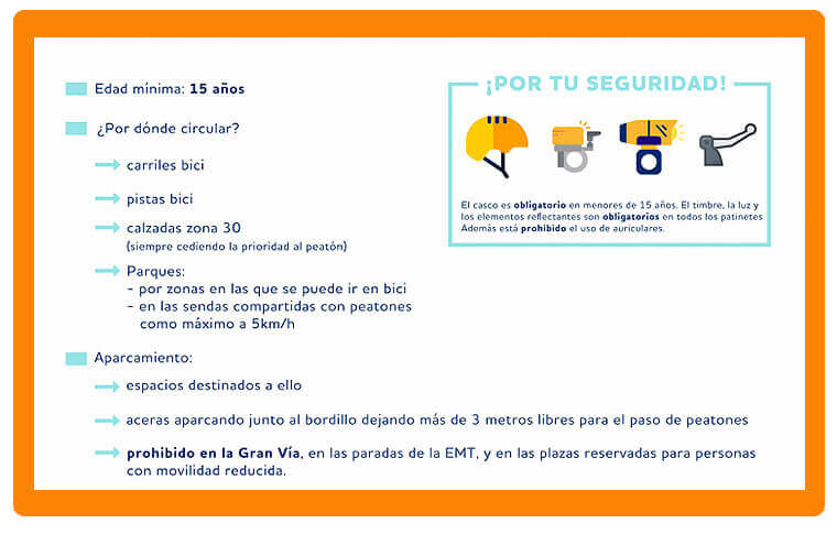 instrucciones del uso patinete eléctrico en Madrid