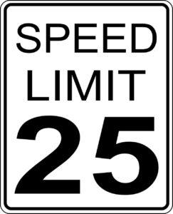límite de velocidad 25 km